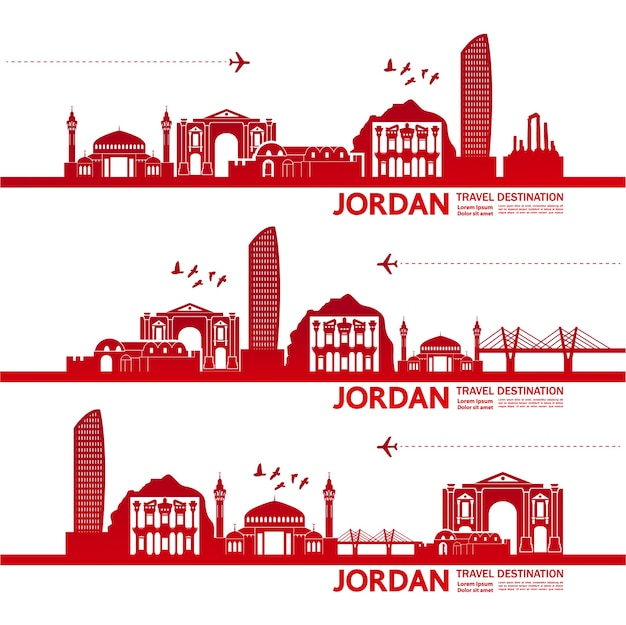 Illustration de destination de voyage en jordanie.