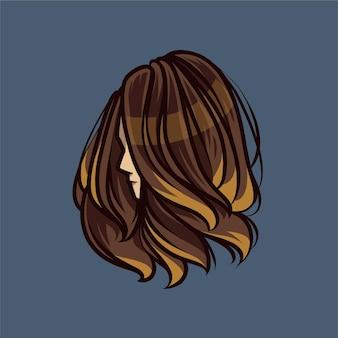 Illustration de détail fille cheveux longs