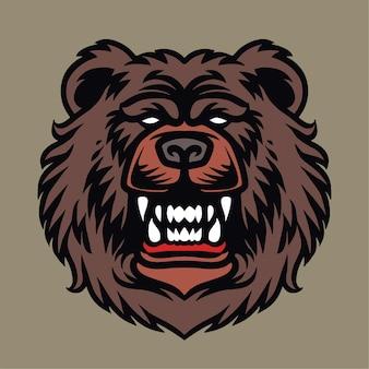 Illustration de détail de tête d'ours