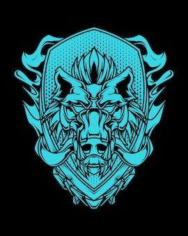 Illustration détaillée d'art de ligne de tête de sanglier