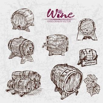 Illustration détaillée de barils de vin dessinés à la main art ligne