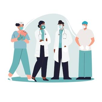 Illustration détaillée de la collection de médecins et d'infirmières