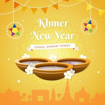 Illustration détaillée du nouvel an khmer