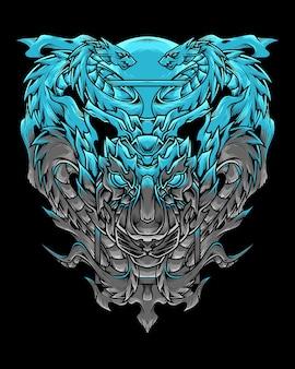 Illustration détaillée du tigre et du dragon bleu foncé