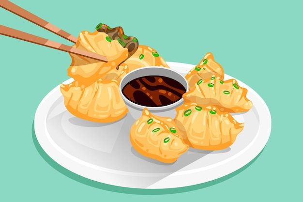 Illustration détaillée de gyozas plats