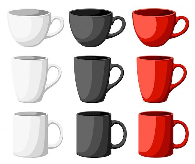Illustration détaillée haute de tasses colorées sur la page du site web de fond blanc et application mobile.