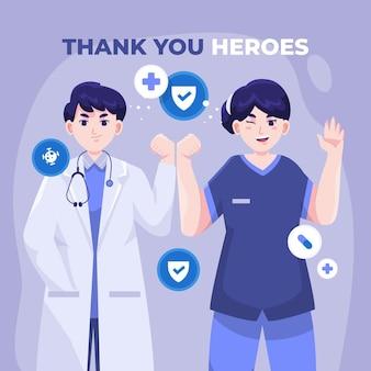 Illustration détaillée des médecins et des infirmières