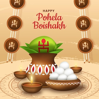 Illustration détaillée de pohela boishakh