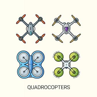 Illustration détaillée des quadrocoptères dans un style branché de ligne plate. dessin au trait.