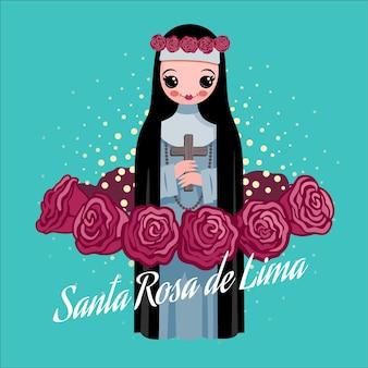 Illustration détaillée de santa rosa de lima
