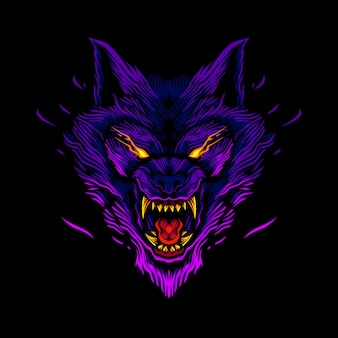 Illustration détaillée de tête de loup en colère
