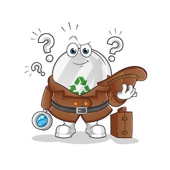 Illustration de détective de signe de recyclage