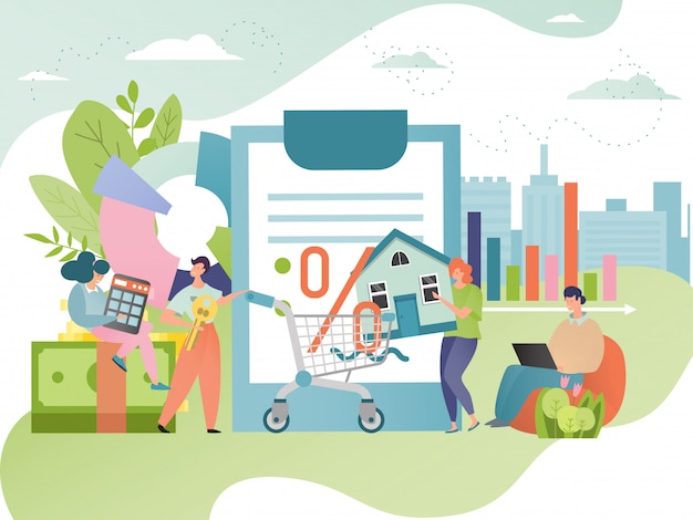 Illustration de la dette hypothécaire. mortgagor avec maison hypothéquée. contrat de prêt immobilier. concept de crédit immobilier.