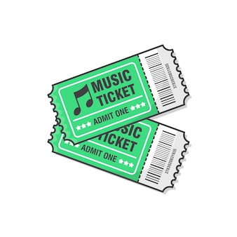 Illustration de deux billets de concert de musique. billet d'entrée à l'événement