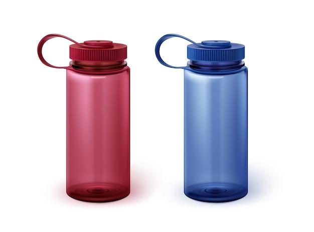 Illustration de deux bouteilles d'eau de sport dans les couleurs rouge et bleu