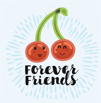 Illustration de deux cerises s'aiment. meilleurs amis pour toujours. citation de lettrage à la main