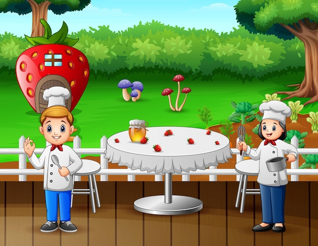 Illustration de deux chefs préparant des plats au restaurant