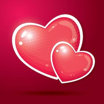 Illustration de deux coeurs rouges