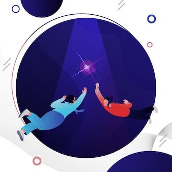 Illustration de deux concurrents atteignant l'objectif