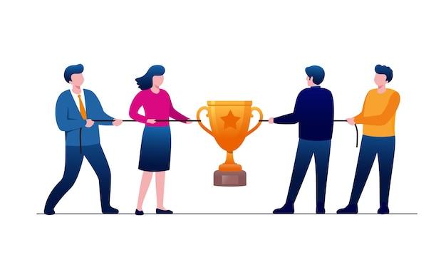 Illustration de deux équipes tirant une corde. vecteur. la bataille pour les trophées ou l'argent.