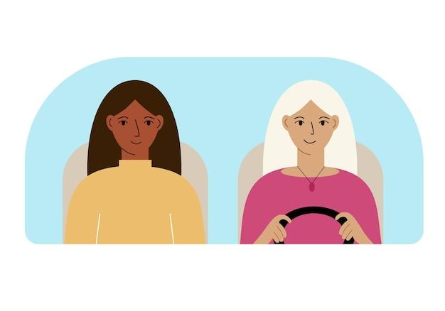 Illustration de deux femmes dans la voiture derrière le pare-brise.