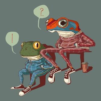 Illustration de deux grenouilles assises vêtues de costumes de sport