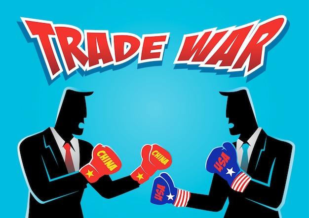 Une illustration de deux homme d'affaires portant un gant de boxe prêt à se battre sur la guerre commerciale