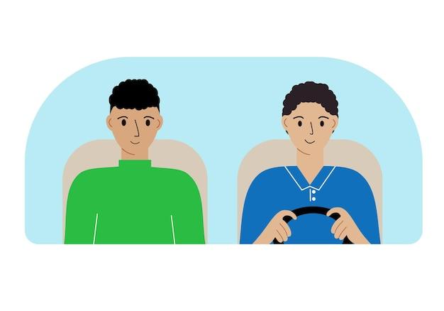 Illustration de deux hommes dans la voiture derrière le pare-brise.