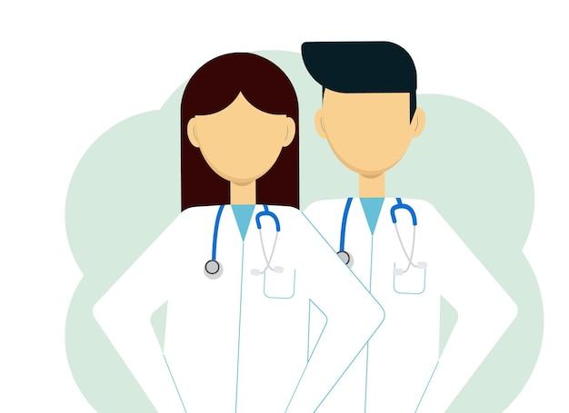 Illustration de deux médecins homme et femme en blouse blanche et avec stéthoscopes