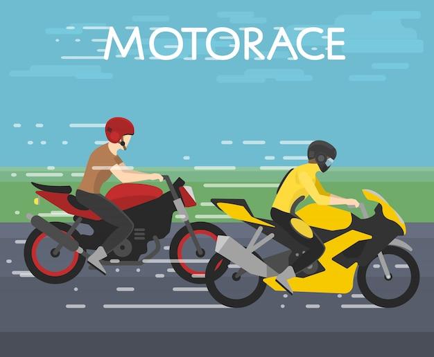 Illustration de deux motocyclistes course sur motorace, compétition, style plat