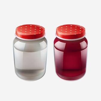 Illustration de deux pots réalistes avec des bouchons rouges isolés sur fond blanc