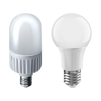 Illustration de deux types d'ampoules. isolé sur blanc