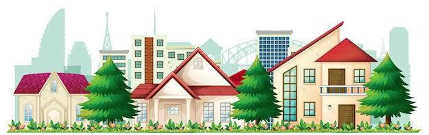 Illustration de devant de maisons de banlieue