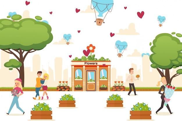 Illustration de devantures de magasin de fleurs. immeuble à vendre bouquets, plantes ornementales. homme de caractère, femmes et couple