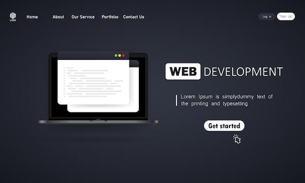 Illustration de développement web. travail sur ordinateur portable. concepts de conception à plat pour l'analyse, le codage, la programmation, le programmeur et le développeur. vecteur sur fond isolé. eps 10.