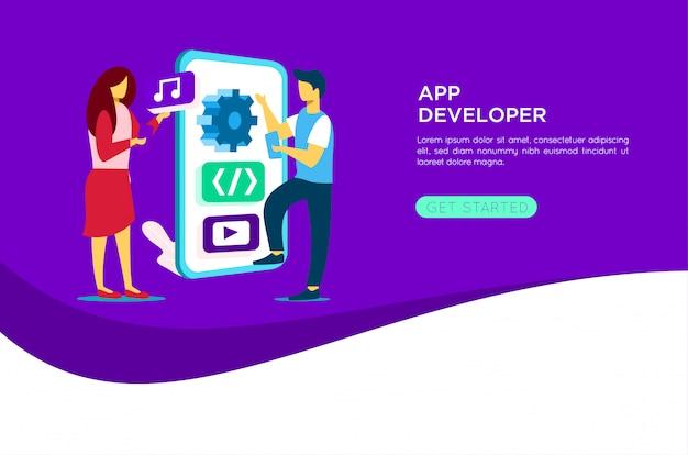 Illustration de développeur d'application mobile