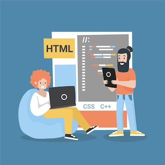 Illustration de développeurs web dessinés à la main