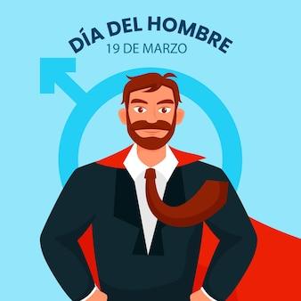 Illustration de dia del hombre au design plat