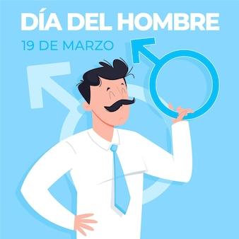 Illustration de dia del hombre dessinée à la main