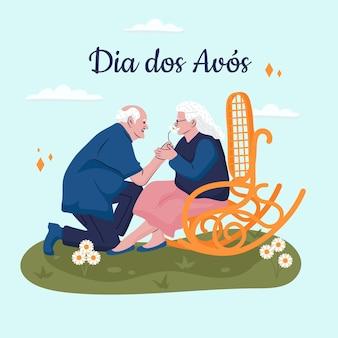 Illustration de dia dos avos dessinée à la main avec les grands-parents