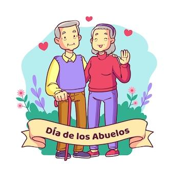 Illustration de dia de los abuelos dessinée à la main
