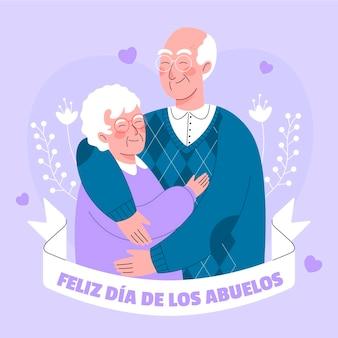 Illustration de dia de los abuelos avec les grands-parents