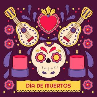 Illustration de dia de muertos dessinés à la main