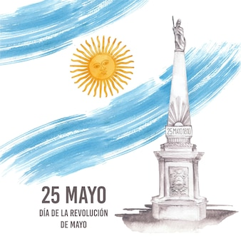 Illustration de dia de la revolucion de mayo argentin aquarelle peinte à la main