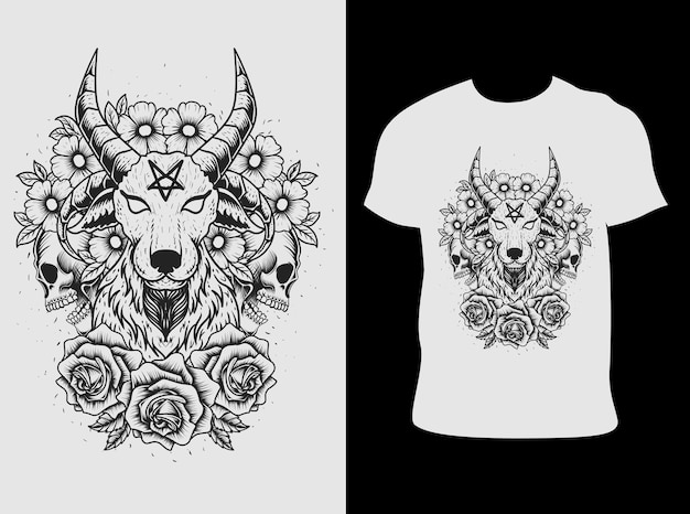 Illustration diable de chèvre avec crâne de modèle dlower
