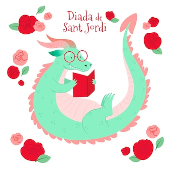 Illustration de diada de sant jordi dessinée à la main avec livre de lecture de dragon