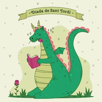 Illustration de diada de sant jordi dessinée à la main