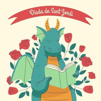 Illustration De Diada De Sant Jordi Dessinée à La Main Vecteur gratuit