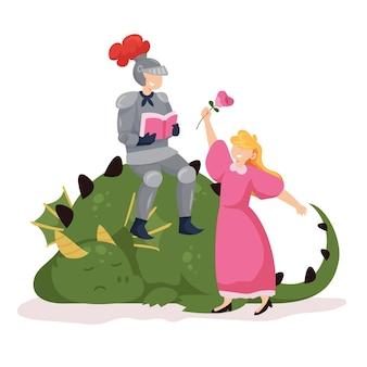 Illustration de diada de sant jordi plat avec chevalier, dragon et princesse