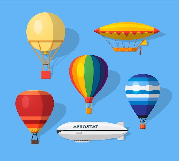 Illustration avec différentes icônes plates d'aérostats. moderne et ancien.